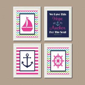 Nautical Nursery Decor Baby Girl Wall Art Hot Pink Navy Chevron Anchor ...