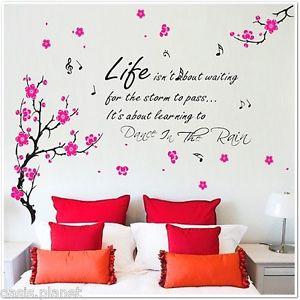 Details about HUGE Flowers Blossom Butterflies Children Wall Stickers ...