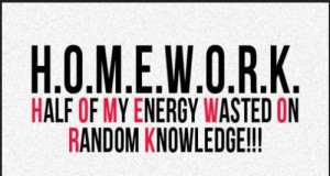 HOMEWORK Stands for Half of my energy wasted on random knowledge.