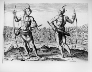 Indians in Virginia. Engraving by Theodore de Bry, 1590, based on a ...