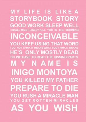 Princess Bride -quotes - A5 Subway Art Print