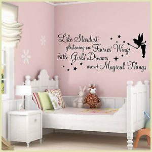 Details about WALL ART STICKERS QUOTES STARDUST GLISTENING FAIRY GIRLS ...