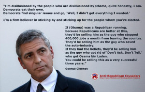 """George Clooney: """"Disillusioned by people disillusioned by Obama ..."""