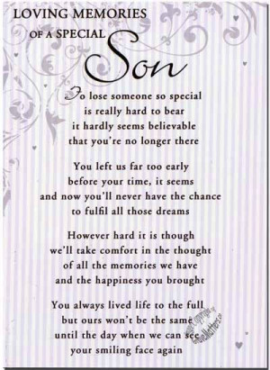 In Loving Memory Quotes for Son | Details about Grave Card / Christmas ...