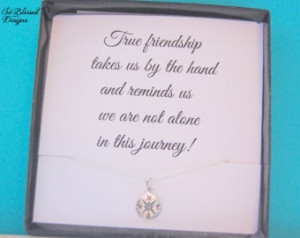 Friendship necklace, journey necklace, sympathy gift, Friendship quote ...