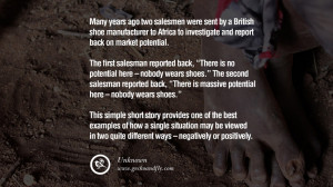 Many years ago two salesmen were sent by a British shoe manufacturer ...