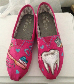 Handpainted TOMS Shoes- DENTIST- PINK Shoes- Dental Theme-