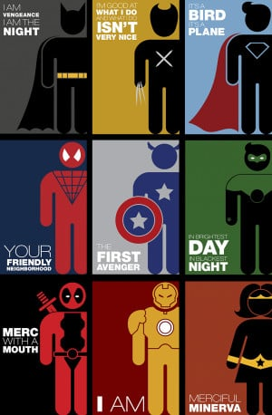 ... Catching Quote Posters Featuring Minimalist Pictograms Of Superheroes