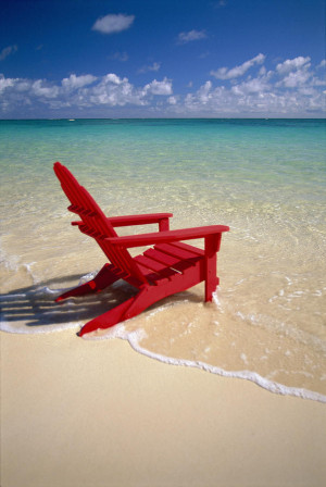 Red Beach Chair Photograph