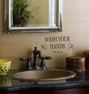 Bathroom Vinyl wall lettering words quotes art decals stickers Wash ...