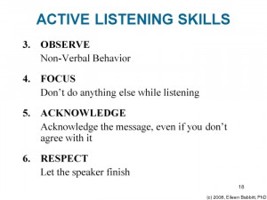 Developing active listening skills