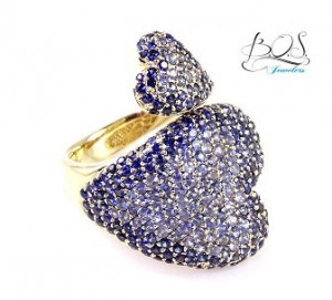 Blue Sapphire You and Me Heart Shape Ring
