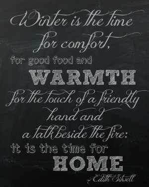 Winter Chalkboard Printable Quote by The Happy Housie Edith Sitwell