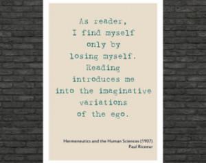 Philosophy art - Paul Ricoeur inspirational quote - educational poster ...