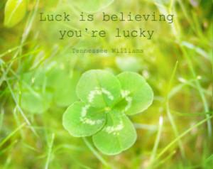 ... quote - Soft Yellow Green Four Leaf Clover Foggy Hazy 8x10 Original