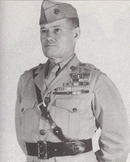 Puller in 1945 with a chest full of medals