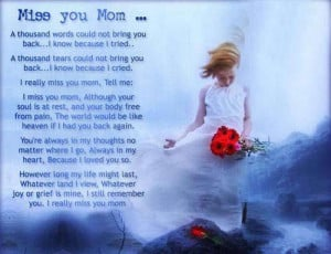 Miss You Mom, A Thousand Words Could Not Bring You Back, I Know ...