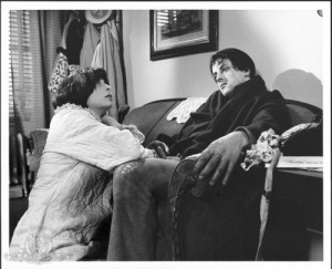 Sly and Talia Shire in Rocky (1976).