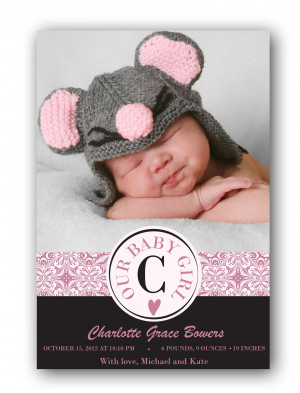 our baby girl baby girl birth announcement