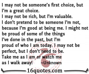 may not be someone s first choice but i m a great choice i may