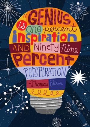 ... Williams Illustration - Thomas Edison, Quote, Lettering, Light Bulb