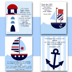 Nursery wall art NAUTICAL theme Boat Lighthouse Anchor with Bible ...