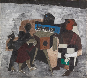 Husain, Amusement in the Street (1957) Oil on canvas, 14 1/4 x 20 ...
