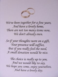 40 Wedding poems asking for money gifts not presents - Ref: no 1 ...