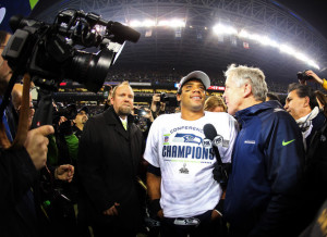 ... in this photo pete carroll russell wilson head coach pete carroll and