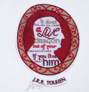 Tolkien Quote Cameo Frame Iron On Embroidery Patch MTCoffinz