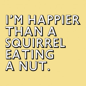 as happy as a squirrel eating a nut.