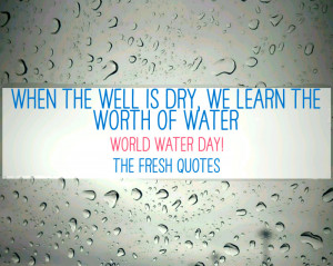 WORLD WATER DAY QUOTES - Benjamin Franklin — 'When the well is dry ...