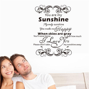 Warm home decoration you are my sunshine quote wall stickers home ...