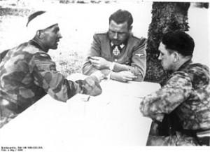 Max Wünsche (left), Fritz Witt (center), Kurt Meyer(right) at a ...