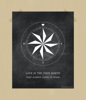 Compass Print True North Love Quote Printable Digital Print 8 x 10 ...