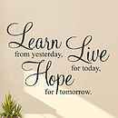 homepage > PARKINS INTERIORS > 'LEARN LIVE HOPE' WALL STICKERS QUOTES