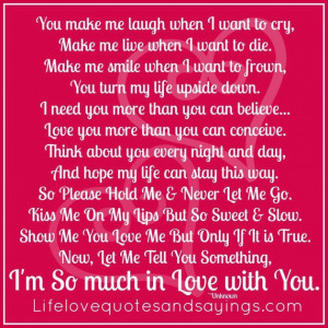 Quotes About Life Journey: You Make Melaugh When I Want To Cry Quote ...