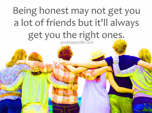 Friendship Quote: Being honest may not get you a lot of friends but…