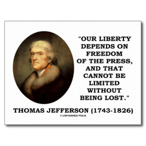 our liberty depends on freedom of the press postcard