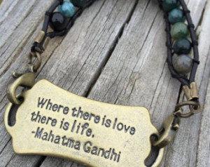 Gandhi Quote Beaded Stone Bracelet