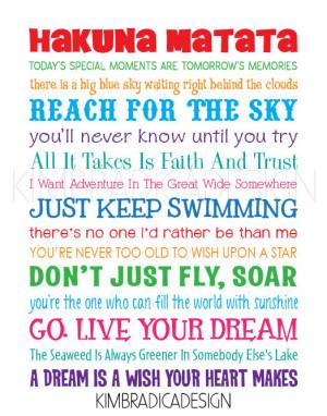 Disney Inspirational Movie Quotes Subway Art, 11x14 Multi-Colored ...