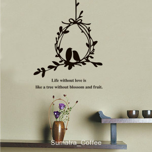 Details about Love Birds Nest Silhouette Quote Removable Wall Sticker ...