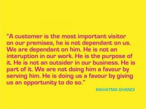 Customer service, quotes, sayings, mahatma ghandi, great