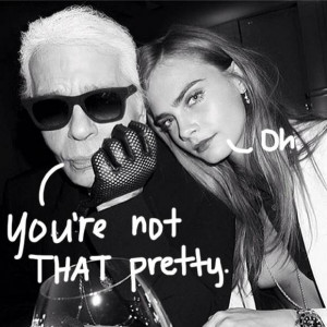 cara delevingne and karl lagerfeld are on set and at least one of