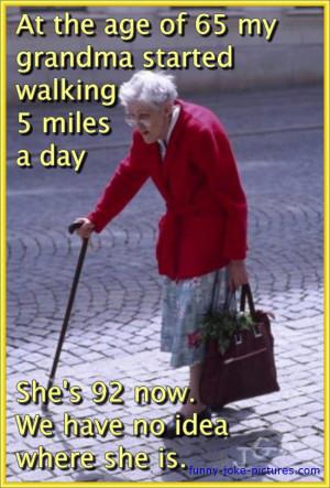 Funny Walking Grandma Missing Meme