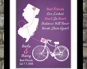 ... Quote Art Map Popular Cute Best Pal Moving Going Away Custom Gift For