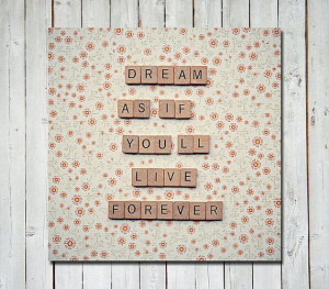Wall quote art scrabble letters by Retro Love Photography on Etsy