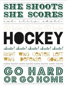 Free printable: hockey subway art for her. More