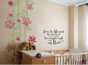 Baby nursery wall quote telling baby how much mom and dad love him or ...