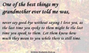 Grandma's advice